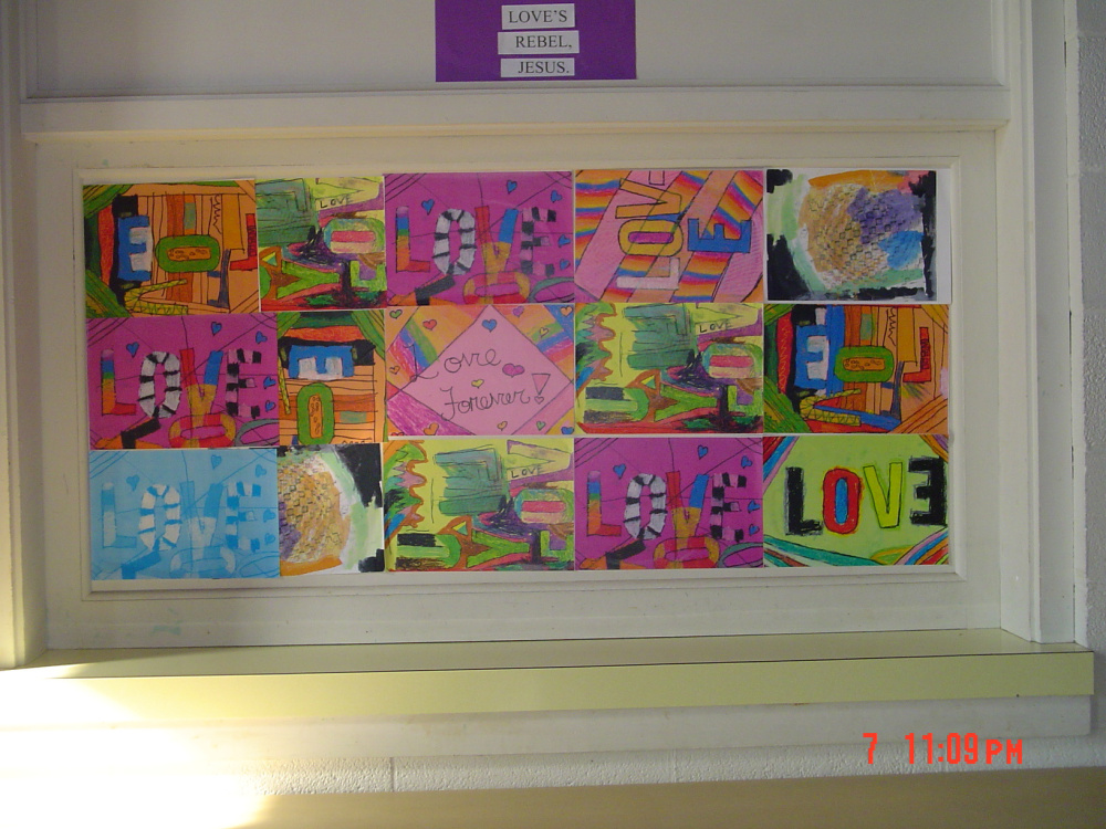 """""""Love's Rebel"""" — A multimedia mural by elementary youth, K-4."""