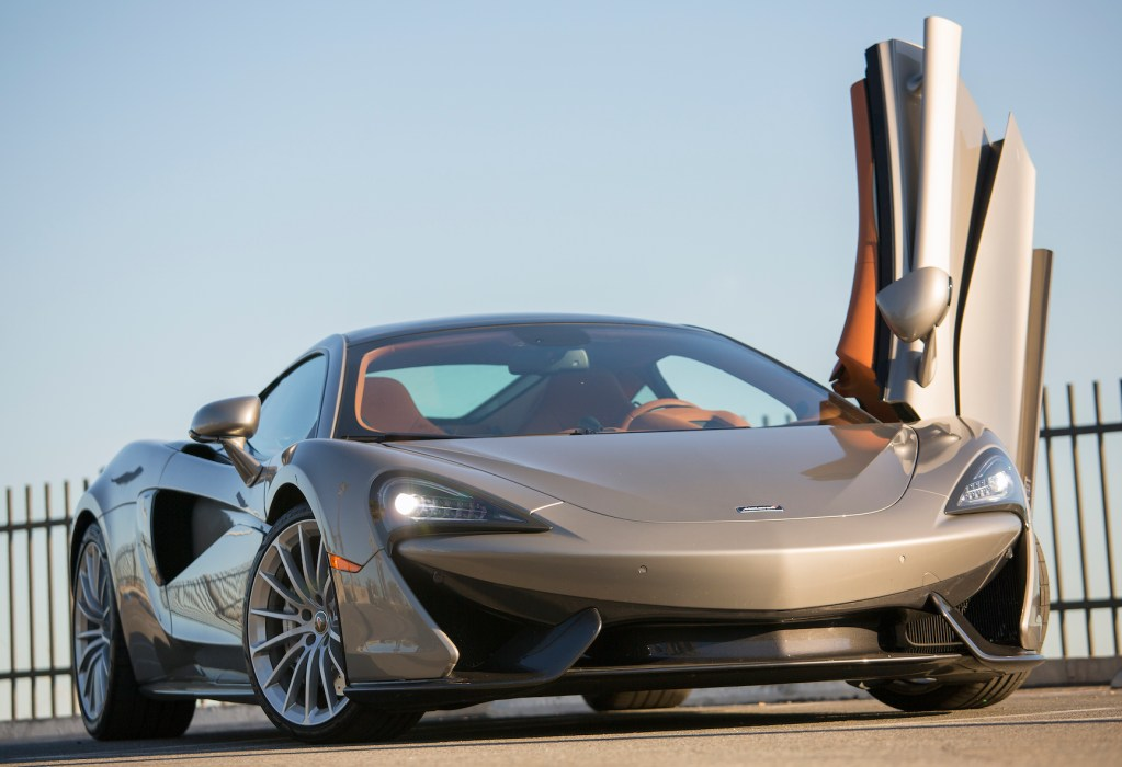 The 2017 McLaren 570GT is powered by a 3.8-liter turbocharged V-8 engine that produces 562 horsepower and 443 pound feet of torque.
