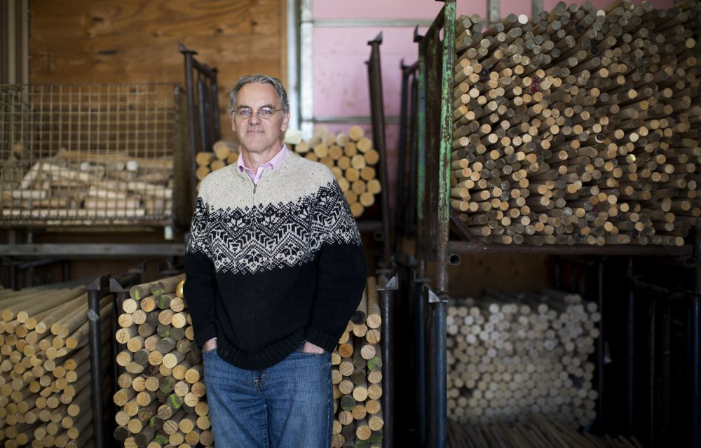 Simon Varney, co-owner of Wells Wood Turning & Finishing, poses for a portrait at the mill. Buzz from recent coverage of the White House's inattention to the annual Easter Egg Roll has brought the company an increase in business.