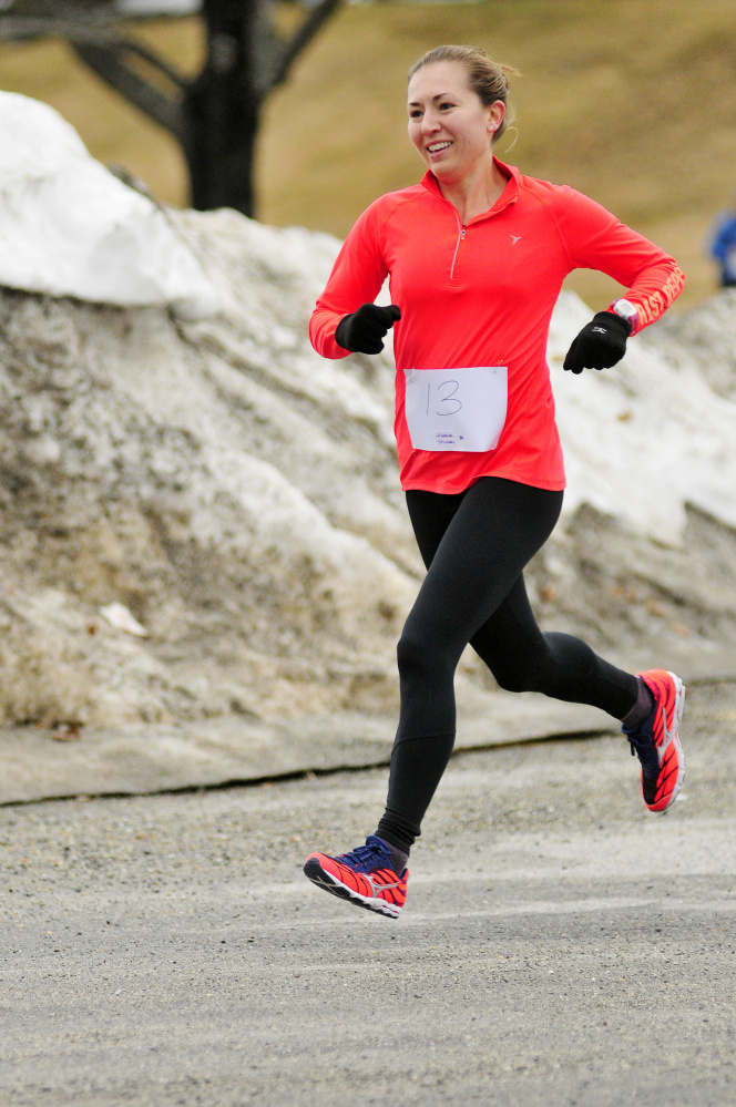 Johanna Stickney finished third overall and was the first female finisher with a 23:05 time in the Tiger 5k Run last Saturday at Gardiner Area High School. Her next race will much longer and a lot more crowded as she will be running the Boston Marathon on Monday.
