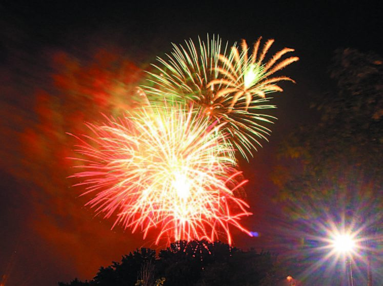 Fireworks light up the sky over the Hathaway Creative Center in Waterville as part of the Winslow Family 4th of July Celebration in 2014. This year the celebration is slated for the fairgrounds in Clinton.