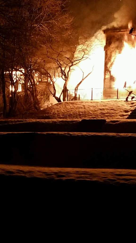 The Reed Mansion in Waldoboro is engulfed in flames Sunday morning.