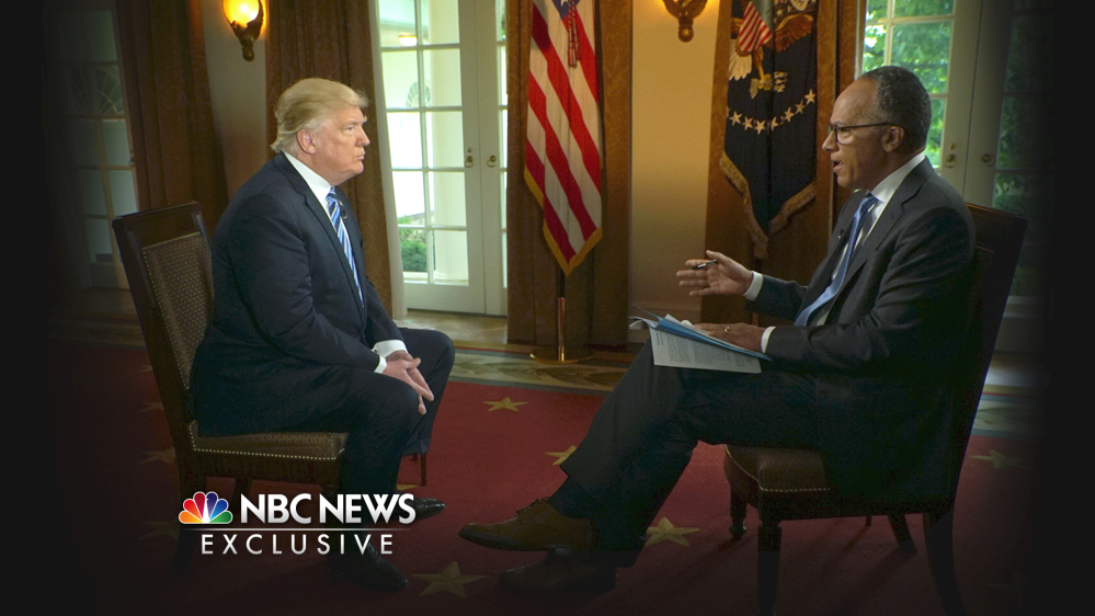 "In this image provided by NBC News, President Trump is interviewed by Lester Holt on Thursday. Trump insisted during the interview that there was ""no collusion"" between his winning campaign and the Russian government."
