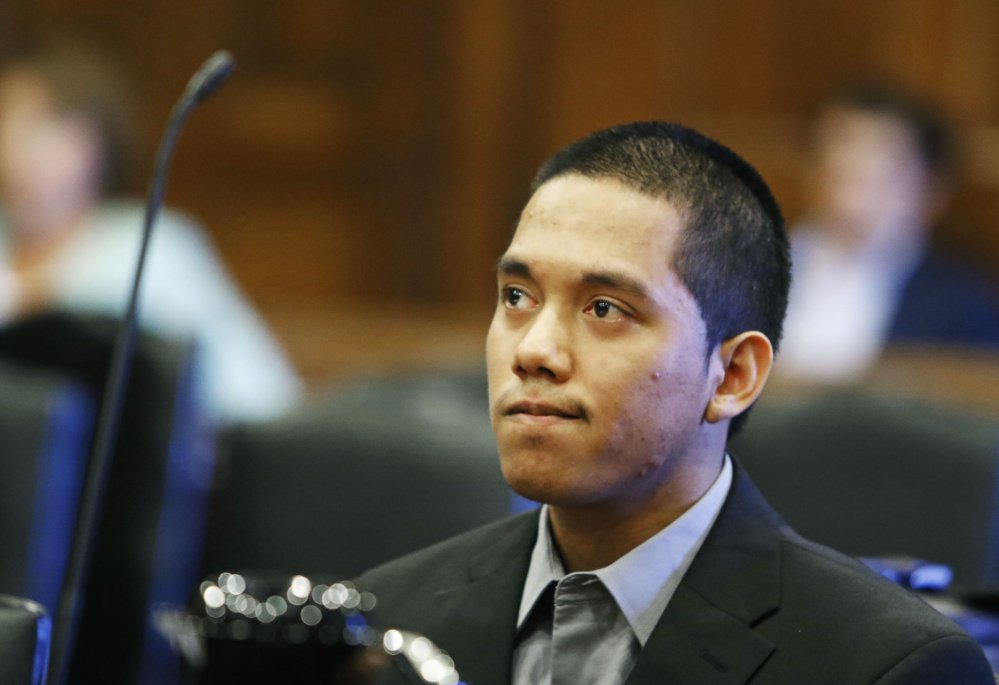 Johnny Ouch attends his sentencing hearing at Cumberland County Superior Court in Portland on Tuesday.