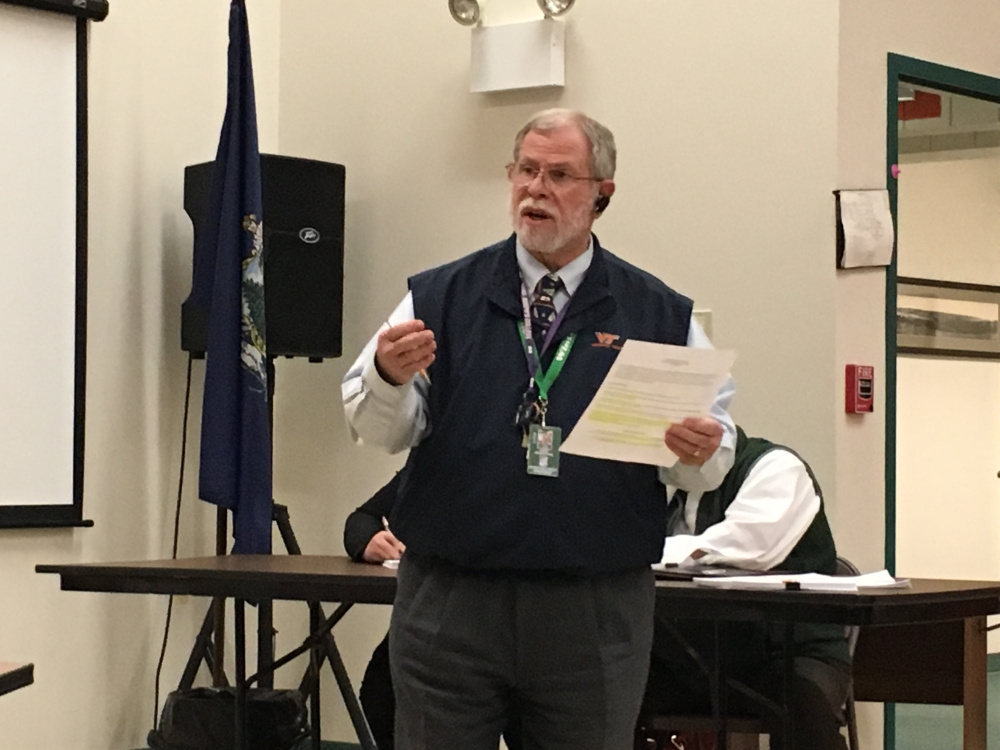 Superintendent Gary Rosenthal presents his proposed budget Monday to the Winthrop Town Council.