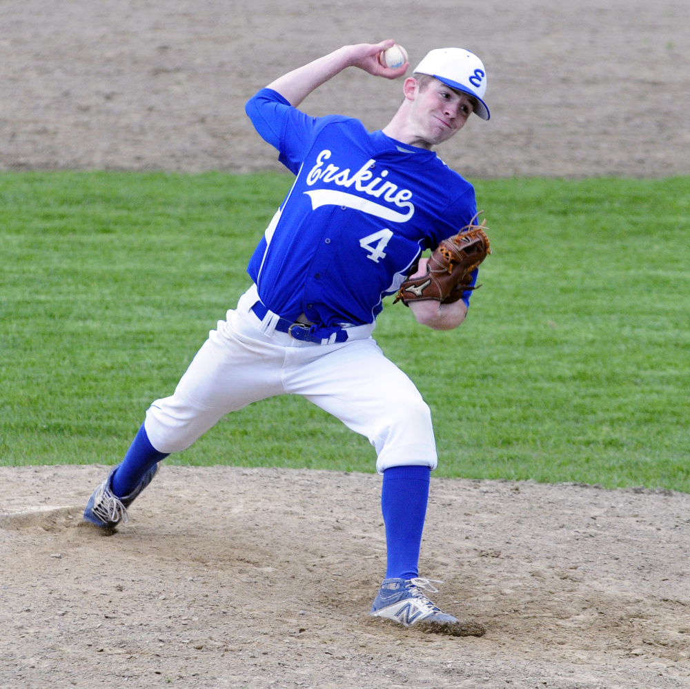 Erskine starter Nate Howard delivers a pitch during a game against Gardiner on Tuesday. Howard pitched a five-inning no-hitter.