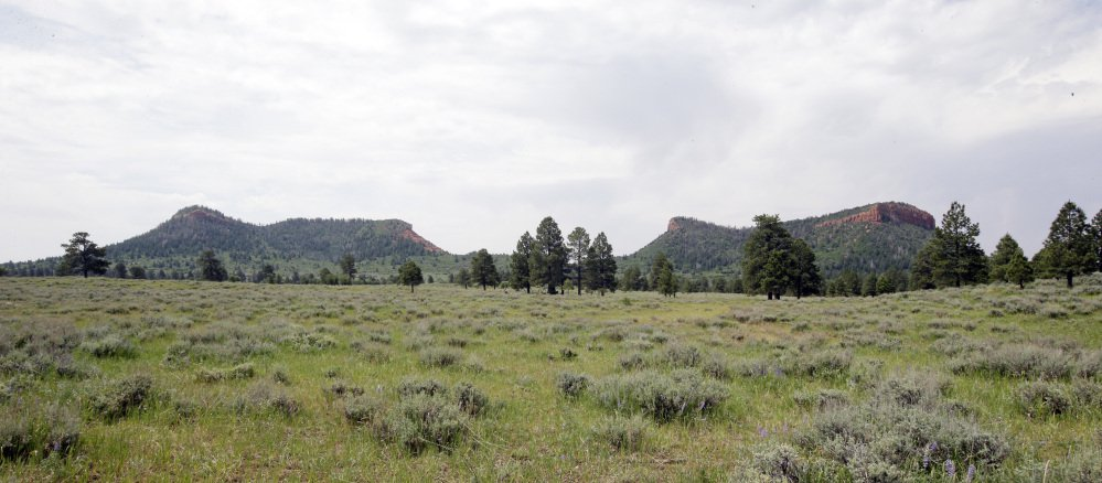 """The """"Bears Ears"""" buttes near Blanding, Utah, shown in 2016, give the national monument there its name. Interior Secretary Ryan Zinke is recommending that the new national monument be reduced in size."""