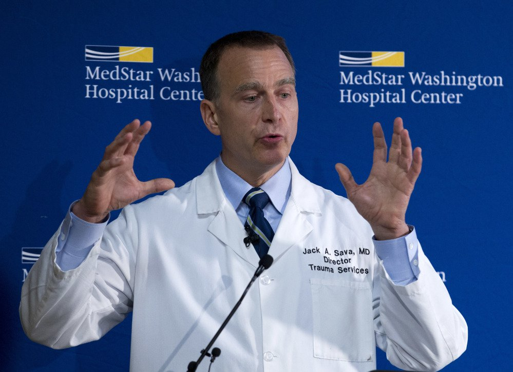 "Dr. Jack Sava speaks at a news conference Friday at MedStar Washington Hospital Center about the condition of Rep. Steve Scalise of Louisiana. Sava said that Scalise arrived at the hospital at ""imminent risk of death."""