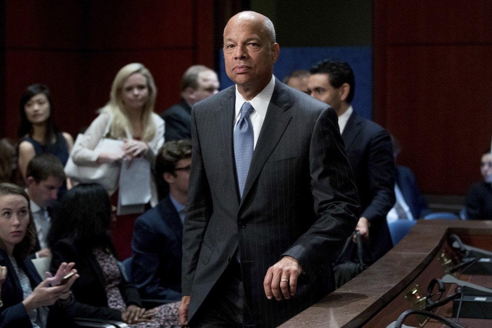 Former Homeland Security Secretary Jeh Johnson arrives to testify before the House Intelligence Committee task force on Capitol Hill in Washington, Wednesday, June 21, 2017, as part of the Russia investigation. (AP Photo/Andrew Harnik)