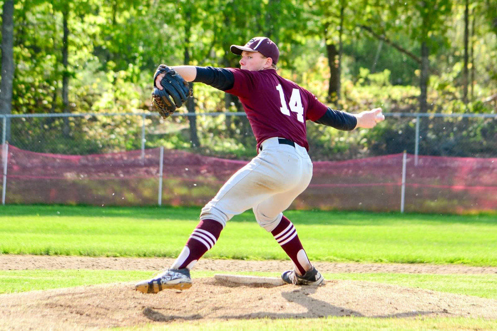 Richmond senior Brendan Emmons delivers a pitch during a game against Buckfield this season.