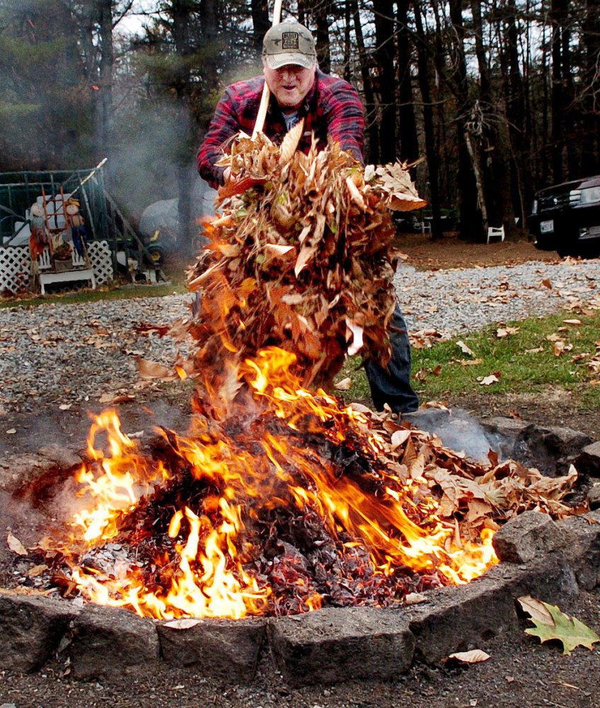 After wind blew hard late on Nov. 15, 2016, Randy Goodrich had plenty of leaves to burn at his home in Sidney.