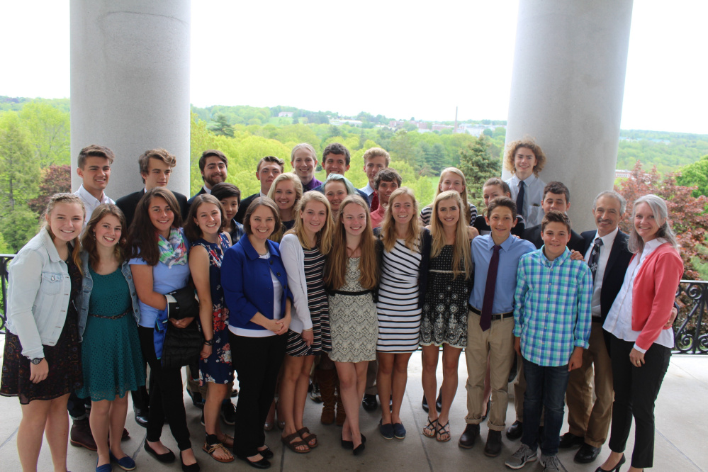 Maranacook Community High School Boys and Girls Nordic Ski teams during a recent visit to the State House. In front, from left are Sarah Chapin, Sarah Halberstadt, Meghan Smith, Laura Parent, Shenna Bellows, Maura Taylor, Hajna Nagy, Maddie Taylor, Brielle Bondeson, Carter McPhedran, Brady Stockwell and Coach Kathy Despres. Middle row, from left are Ethan Watts, Abby Despres, Camille Kavanah, Ruslan Reiter, Ashley Cray, Cambelle Nutting, Sebastian Alvarado and Coach Steve DeAngelis. In back, from left are Nathan Delmar, Zachary Holman, James Stratton, Bryce Trefethen, Connor Firth, Luke Bartol, Tate Mendall and Nathan Janell.