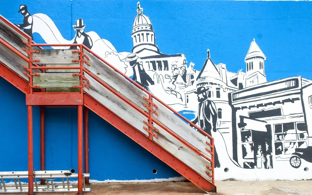 The outline of a mural that will be painted in by the public at an event Saturday in downtown Augusta is shown on Thursday.