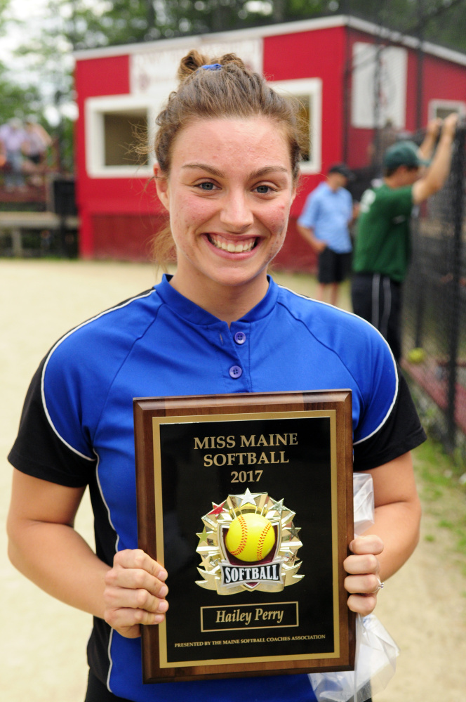Hermon High School catcher Hailey Perry was named the 2017 Miss Maine Softball recipient during a presentation between senior all-star games Thursday at Cony High School.