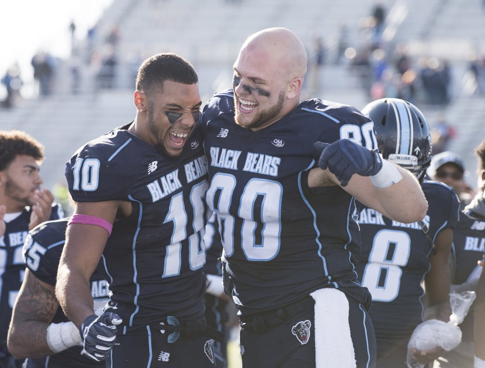 Micah Wright, left, heads a potentially deep group of receivers for Maine, which was voted ninth in the CAA preseason coaches' poll despite finishing fourth last year.