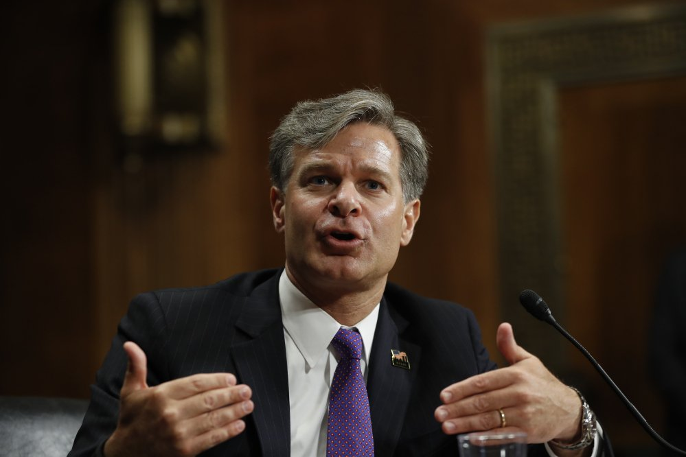 Christopher Wray testifies on Capitol Hill in Washington at his confirmation hearing before the Senate Judiciary Committee this month. The Senate confirmed his appointment as FBI director on Tuesday.