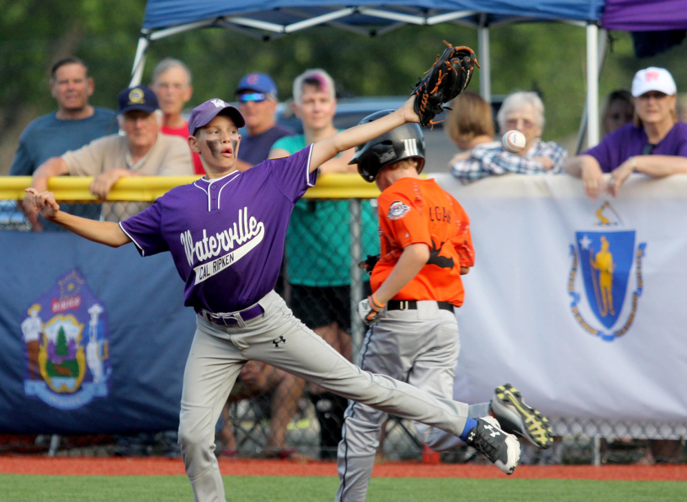 Waterville second baseman Wyatt Gradie is unable to coral an errant throw allowing Brunswick, Maine's Miles Logan to reach first base in a Cal Ripken 11U Regional Tournament semifinal Wednesday at Purnell Wrigley Field in Waterville.