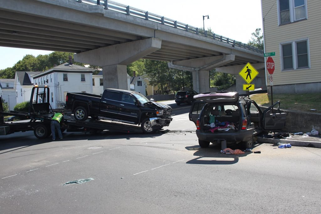 A two-car crash in Bath sent three to the hospital Aug. 1 and forced a road closure. Staff photo by Chris Chase