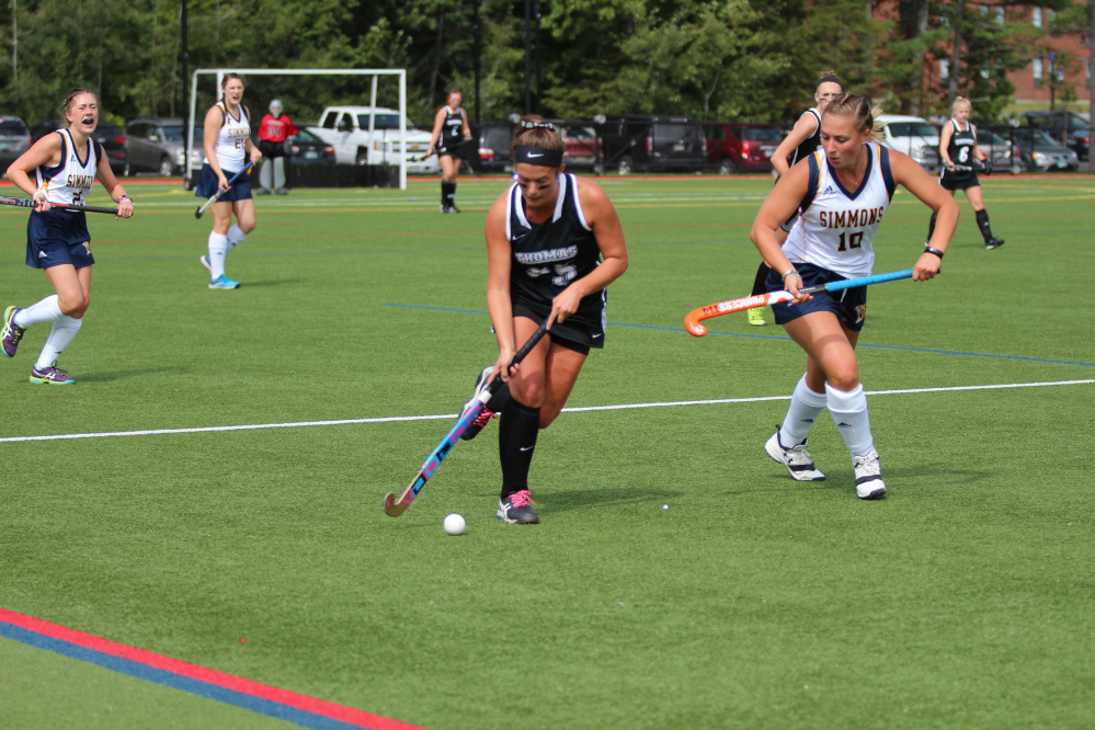 Senior forward and Gardiner graduate Abigail Dunn moves the ball down the field for the Thomas field hockey team during a game against Simmons back on Sept. 3.