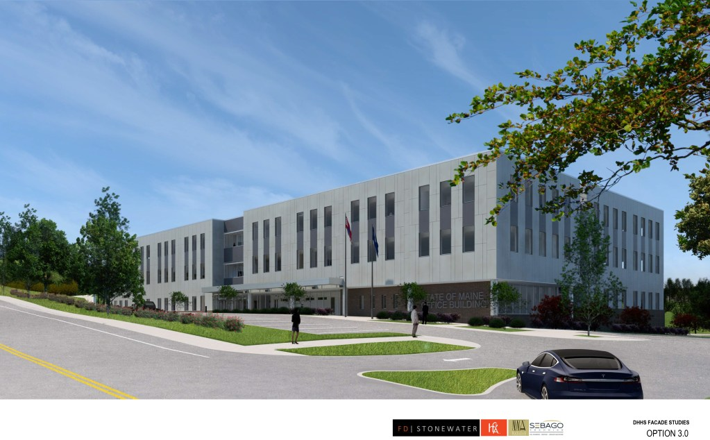 One of the renderings submitted by the developers seeking Augusta Planning Board approval for the facade of the new office building planned for Capitol Street.