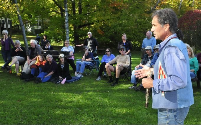 Barry Dana, of Solon, a former chief of the Penobscots, speaks on Oct. 13, 2015, during an Indigenous People Day rally in Skowhegan. The town of Starks is joining other Maine communities that have decided to celebrate Indigenous People's Day the second Monday in October instead of Columbus Day.