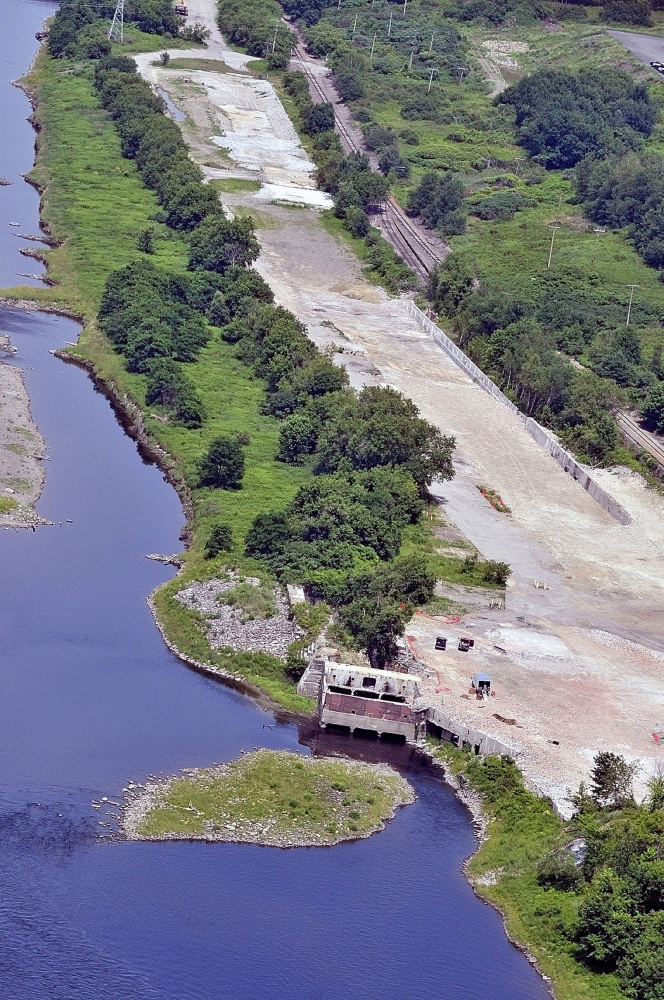 This July 2010 aerial photo shows the site where the Statler paper mill used to be on the east side of Kennebec River in Augusta. The local housing authority hopes to build 34 residential units there.