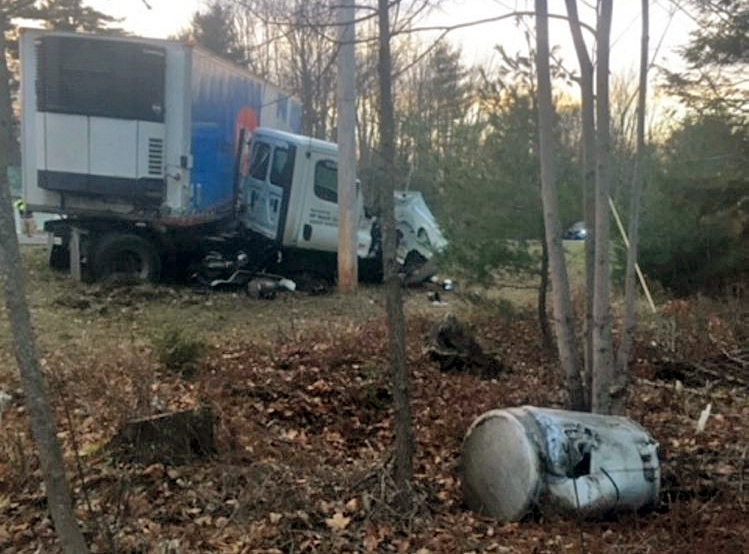 A near, head-on crash between a passenger vehicle and tractor trailer killed one person Saturday in Fairfield.