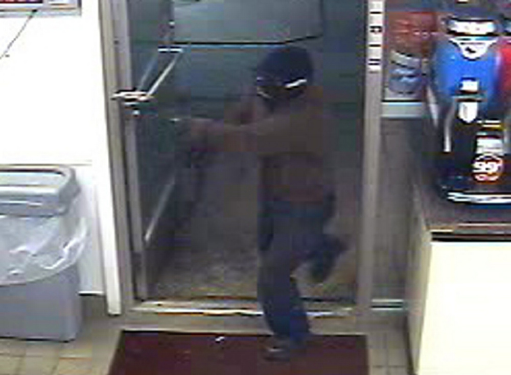 A video surveillance image shows a robbery suspect enter a Circle K store in Fairfield on Sunday night.