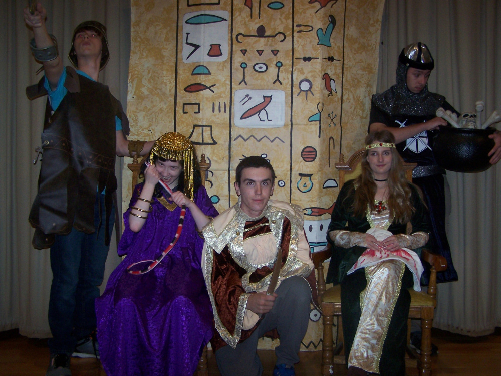Seniors in Madison Area High School's fall play, from left, are Nathaniel Fletcher as Julius Caesar, Jasmine Moody as Cleopatra, Tyler Briggs as Henry Earl of Richmond, Sariah Lizak as Lady MacBeth and Kalob Richardson as Lord MacBeth.