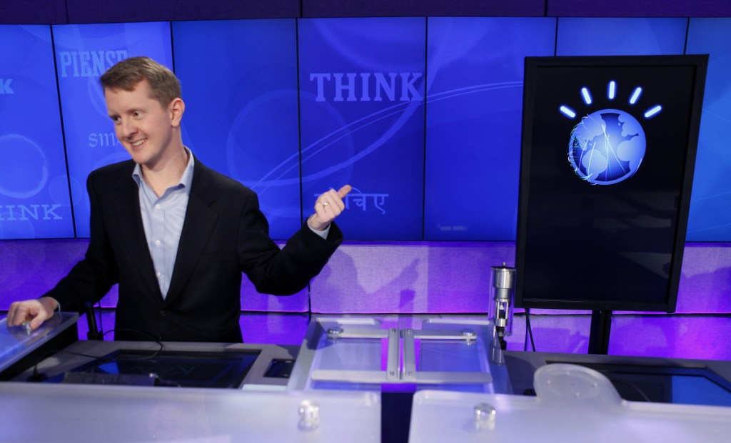 """The tech industry has pumped a lot of resources into machine learning since an IBM computer called """"Watson,"""" right, bested record-setting """"Jeopardy!"""" champion Ken Jennings, left, in a 2011 competition."""