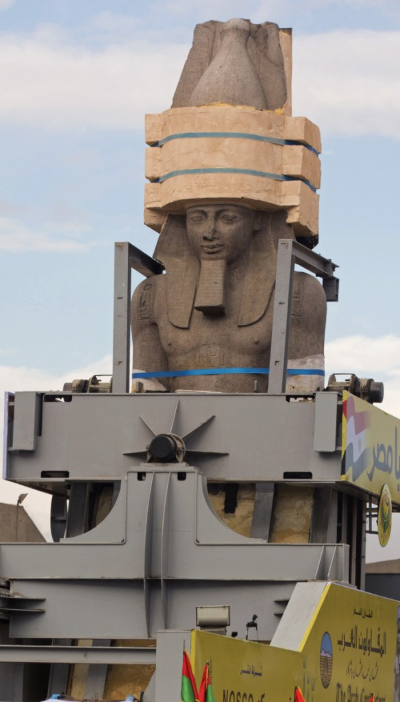A statue of the ancient Egyptian Pharaoh Ramses II is relocated on Thursday.
