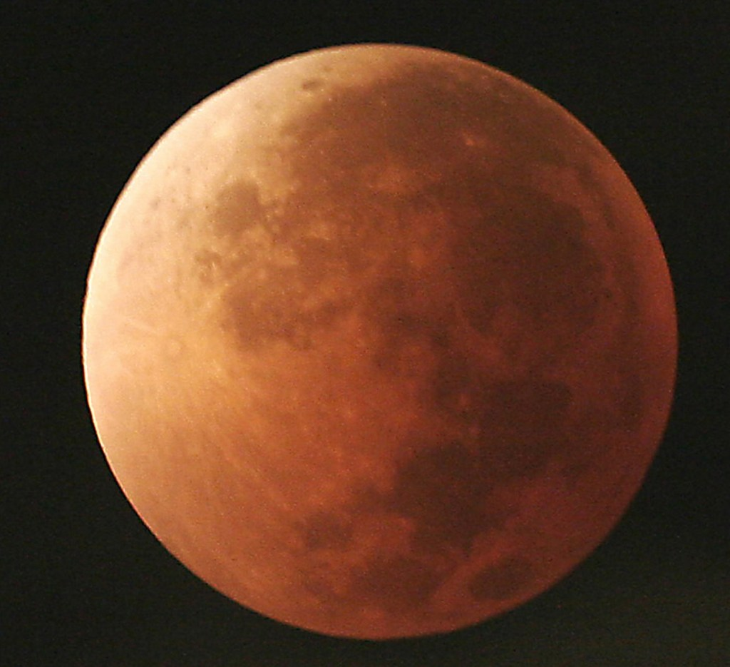 The moon is seen during a lunar eclipse in 2007. Another lunar eclipse happens Wednesday.