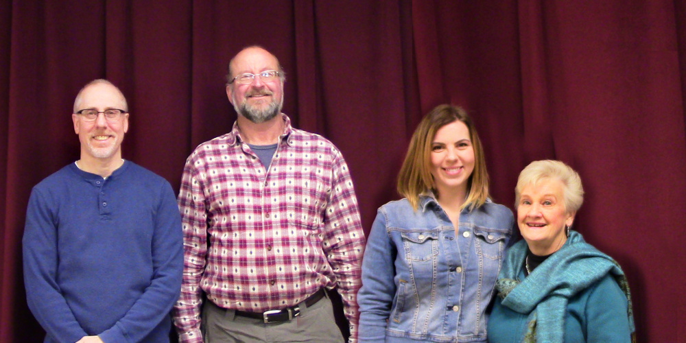 """The Rangeley Friends of the Arts voted in new board members at its annual meeting held in December. The new members are, from left, Jeff Zapolsky, Ken McDavitt and Adrian Heatley with outgoing member Millie Hoekstra, who is rotating off the board due to term limits. Throughout 2018, the organization will celebrate its 50th year of promoting the Arts in the Rangeley Region. For more information, visit <a href=""""http://www.rangeleyarts.org"""">rangeleyarts.org</a>."""