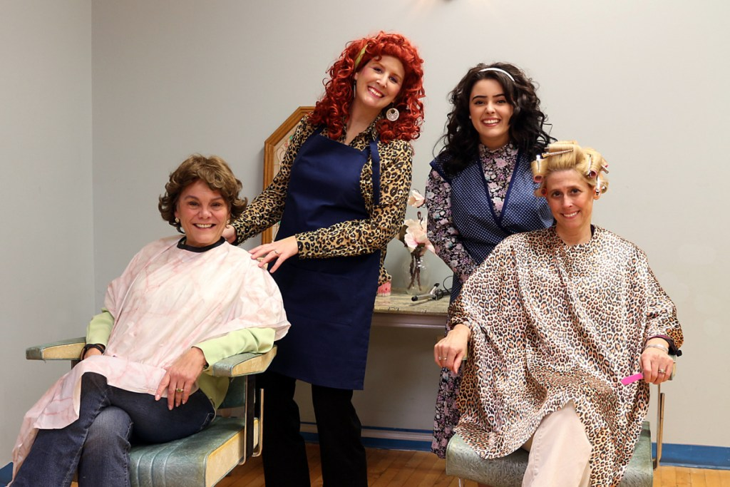 """The cast of """"Steel Magnolias"""" in front, from left are Clairee Belcher, played by Nancy Keegan Carbone, and M'Lynn Eatenton, played by Lisa Ed Neal. In back, from left are Truvy Jones, played by Juli Brooks Settlemire, and Annelle Dupuy-Desoto, played by Emily Cates."""