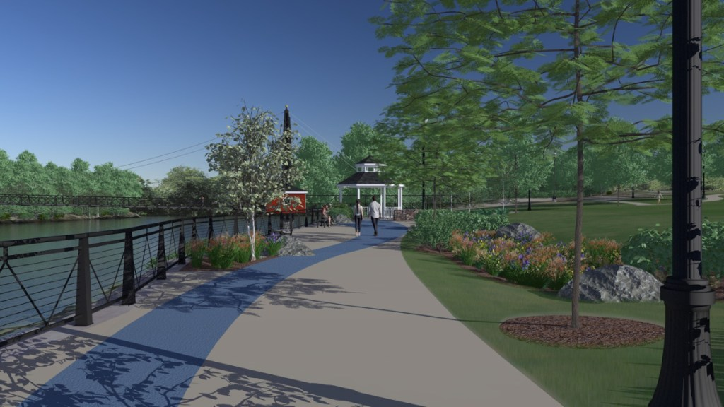 Waterville's projected riverwalk, as designed by Mitchell & Associates of Portland. A recent donation has brought the project halfway to its total estimated cost of $1.5 million.
