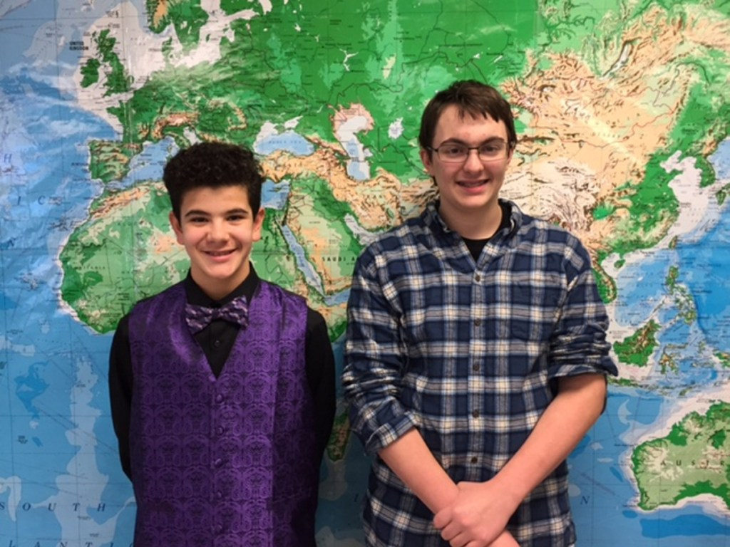 Waterville Junior High School recently held its geography bee. The runner-up was seventh-grade student Michael Lugo, left, and the geography bee champion was Adam Sirois, an eighth-grader.