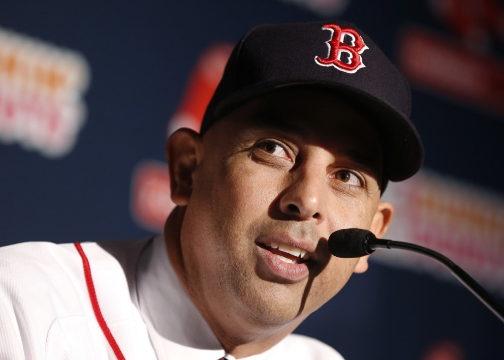 Boston Red Sox manager Alex Cora speaks after being introduced as the 47th manager and first Latino manager in the club's history in Boston in late November. Cora is the youngest Red Sox manager in decades, and the team hopes his ability to relate to his players will help the team on the field.