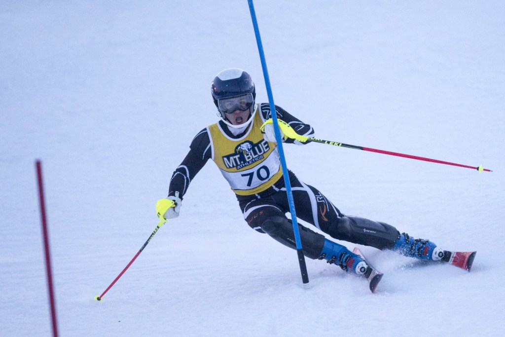 Mt Blue High School's Sam Smith competes in a slalom race at Titcomb Mountain in Farmington on Jan. 24.