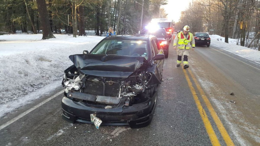 Icy roads contributed to a crash that involved a Toyota and a school bus in Falmouth on Wednesday.