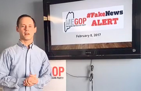 """Maine Republican Party Executive Director Jason Savage delivering a """"Fake News Alert""""  in 2017 discussing a story his party thought failed to meet the standards of good journalism."""