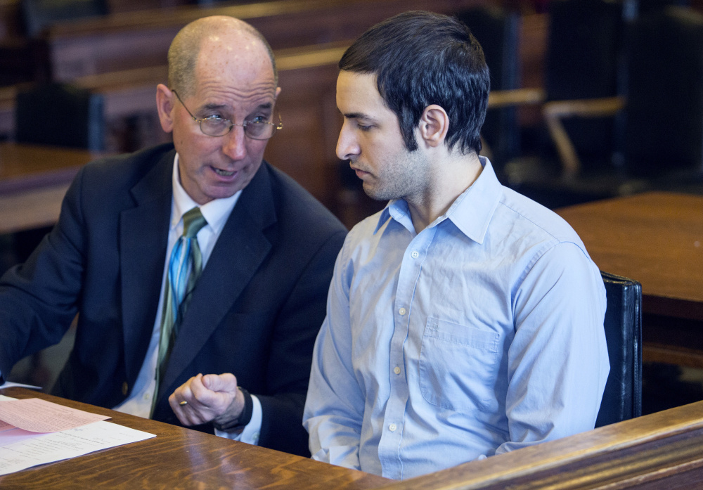 Philip Macri, with attorney Gerard Conley, was sentenced to six years in prison and his driver's license was suspended for life for the crash that killed a Steep Falls woman in 2016.