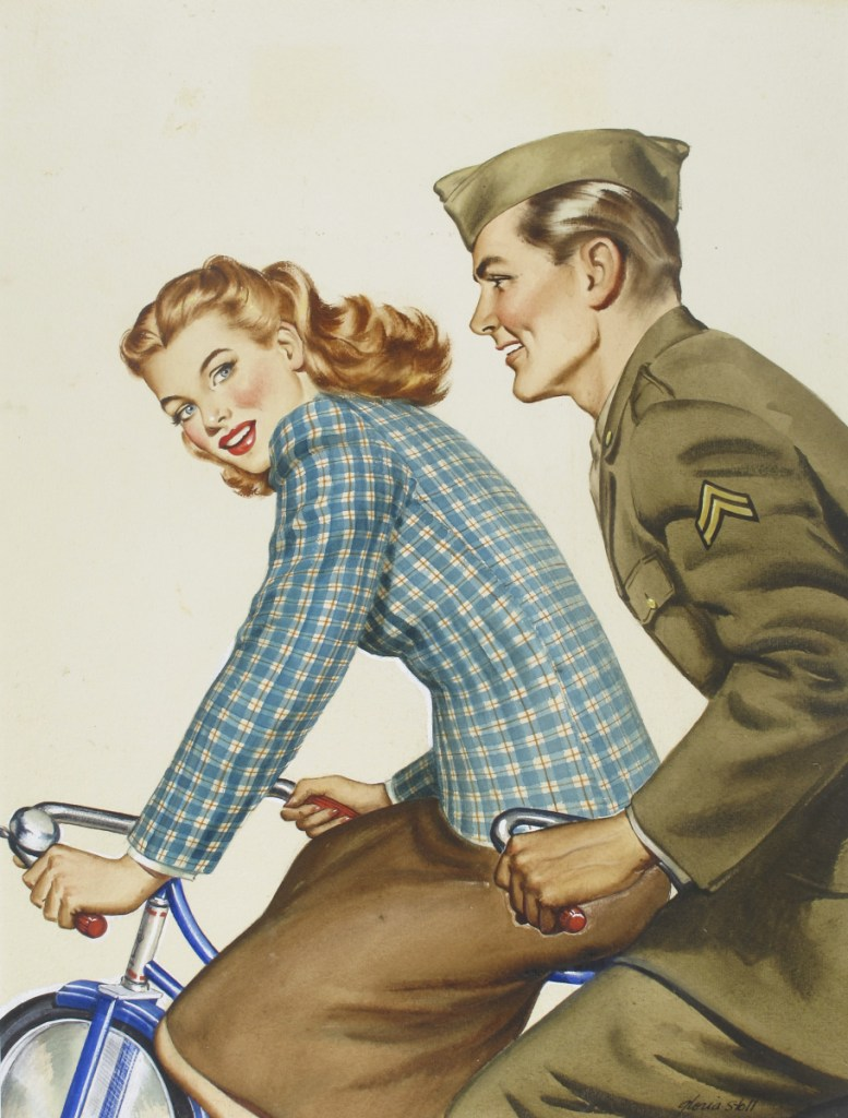 "The 1944 watercolor-on-board painting ""Army Soldier and Woman on Bicycle,"" by Gloria Stoll Karn."