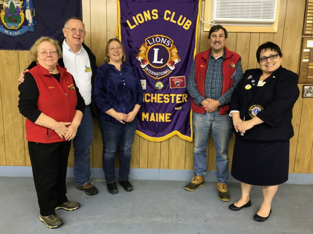 The Manchester Lions Club recently was presented awards, from left are Arlene Gagnon Manchester Lions Club President, Lion Andy Morse, Past District Governor Michelle Crocker, Lion Brian Sylvester and Second Vice District Governor Tia Knapp.