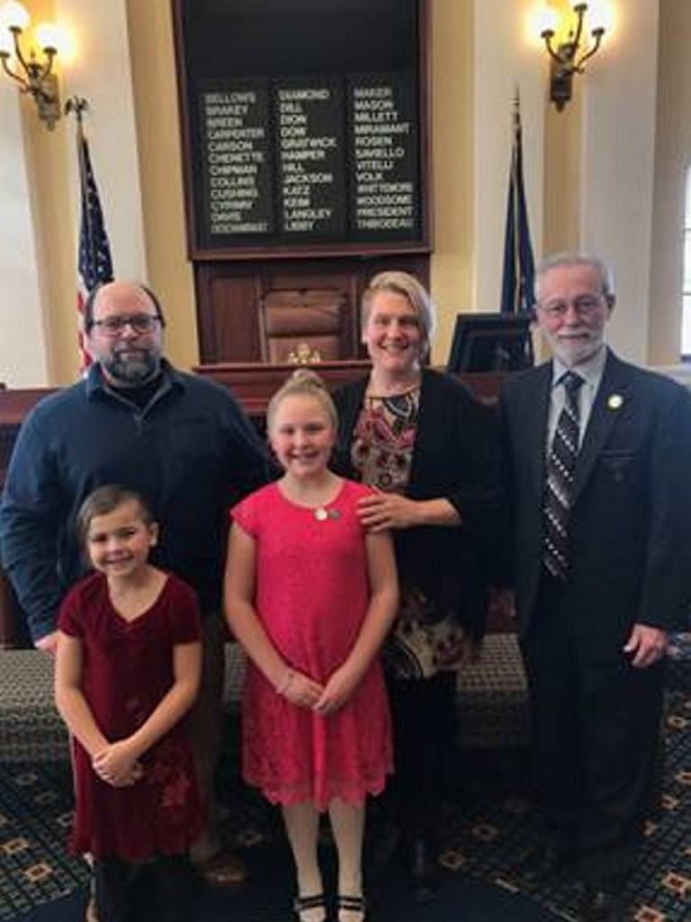 Front, from left, are Lucia LaCroix and Evelyn LaCroix. Back, from left, are Douglas LaCroix, Carrie LaCroix and Sen. Rod Whittemore, R-Skowhegan.