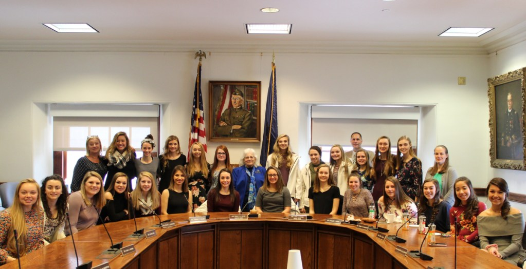 The Skowhegan Field Hockey team recently was recognized by the Maine House of Representatives for winning the 2017 Class A state championship. They were welcomed by Reps. Betty Austin, D-Skowhegan, and Brad Farrin, R-Norridgewock. In front, from left are Julia Steeves, Mariah Lancaster, Gabrielle Campbell, Alexis Michonski, Emily Reichenbach, Alyssa Salley, Maliea Kelso, Alexis Vashon, Meredith Mitchell, Bhreagh Kennedy, Mackenzie McConnell, Olivia Hatch, Chloe Dubois and Haley Carter. Second row, from left are Head Coach Paula Doughty, Leah Savage, Hannah McKenney, Kayla Furbush, Brooklyn Hubbard, Unity Hodges, Rep. Betty Austin, Elizabeth York, Mariah Whittemore, Hailey Poulin, Logan Wing, Lauren Enright, Samantha Bonneau and Assistant Coach Fawn Haynie. Rep. Brad Farrin is in back.