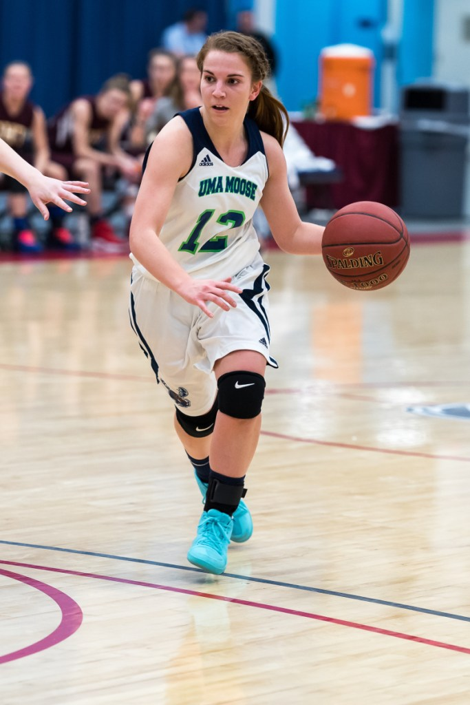 University of Maine at Augusta guard Carmen Bragg is averaging 11.1 points per game for a team that is 21-4 at the end of the regular season. The Moose will move on to the Yankee Small College Conference playoffs.