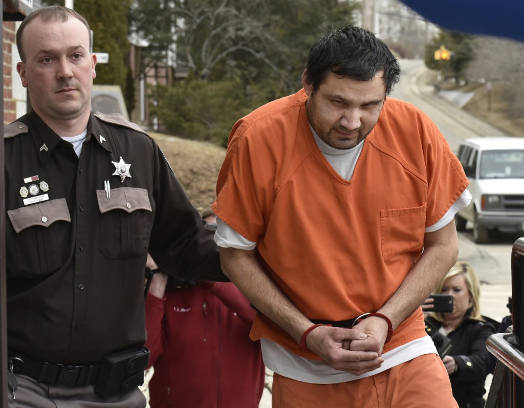 """Julio Carrillo, 51, of Stockton Springs arrives for a bail hearing Feb. 28 at Waldo County Superior Court. Charged in the beating death of his stepdaughter, Carrillo's bail was set at $500,000. A prosecutor said what the child endured """"can only be described as torture."""""""
