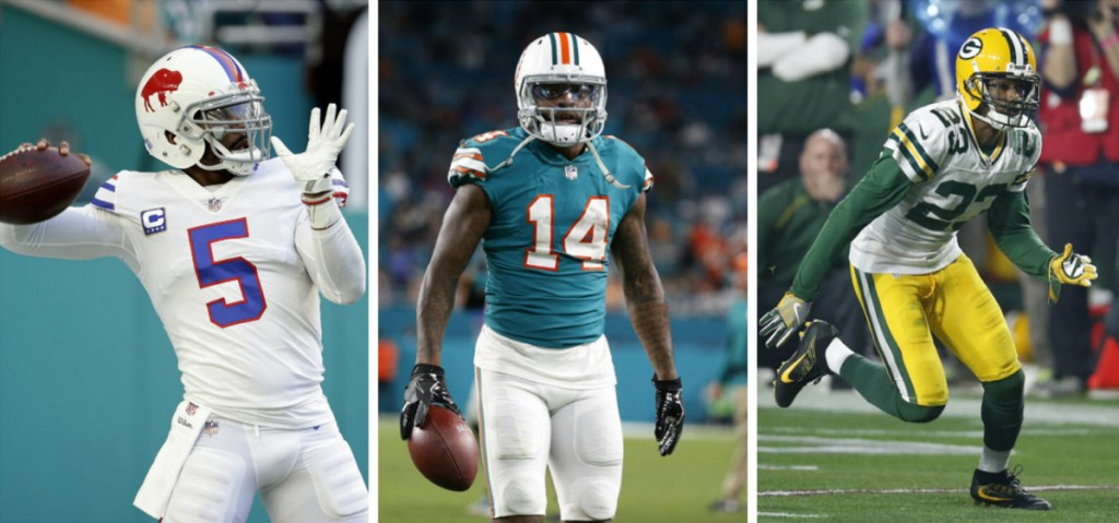 What do quarterback Tyrod Taylor, left, wide receiver Jarvis Landry, center, and cornerback Damarious Randall have in common? They were all dealt to Cleveland in trades agreed to Friday.