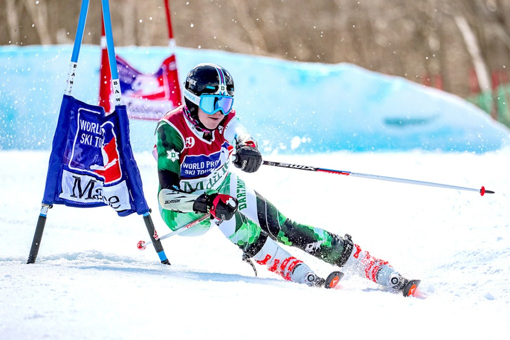Alexa Dlouhy of Canada carves her way around a gate Saturday during the World Pro Ski Tour event at Sunday River. Dlouhy defeated Dartmouth College teammate Foreste Peterson in the women's final.