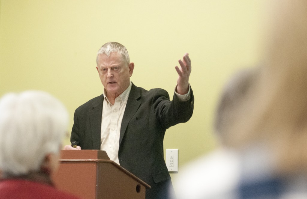 Nick Mills speaks about American military interventions during a lunchtime event Wednesday at The Holocaust and Human Rights Center of Maine on the University of Maine at Augusta.